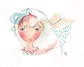 Whimsical Girl Painting, Original Illustration, Home Decor, A5, 8 x 6, Girls Art, Girls Room, Raining Girl, Mind of Rain