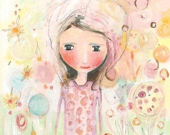 Original Whimsical Cute Girl Acrylic Painting - Garden Of Dreams