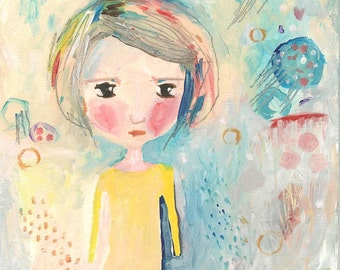 Whimsical Girl Painting, Cute Original Acrylic Painting, Summer Dreamer