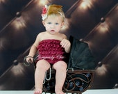 End of Season Sale -Featured in Treasury -Stunning Burgundy lace petti romper, photography prop, special occasion, holiday