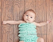 Sale -Beautiful Aqua Lace Romper free headband, newborn romper, toddler romper