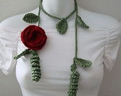 Crochet Pattern Leaf Lariat with Rose PDF  Instant Download