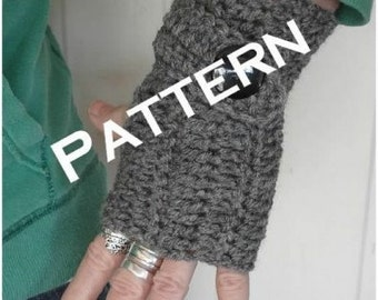 crochet fingerless mittens with faux button strap pdf tutorial  Instant Download