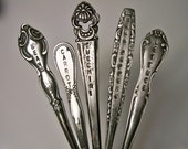 Vintage Charm - Silverware garden marker - SET of 5 - fork knife spoon - CUSTOMIZE an ORDER - Hand Stamped