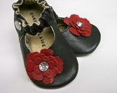 Red Rose - Black Leather Mary Jane soft sole shoes - Custom sewn size - 0 3 6 9 12 18 24 months