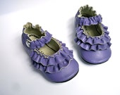 PURPLE Leather Mary Jane soft sole shoes - Double Ruffle  0 3 6 9 12 18 24 months