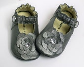 Over the top SILVER Rose - Leather Mary Jane soft sole shoes - 0 3 6 9 12 18 24 months - Custom sewn