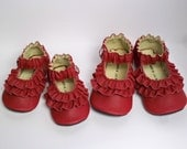RESERVED - RED leather double ruffle mary janes