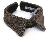 Harris Tweed collar accessory in brown herringbone by Baba Ganoush