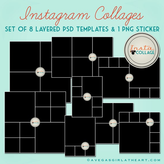 instagram layered psd collage templates 3x4 4x4 by perfectloop. Black Bedroom Furniture Sets. Home Design Ideas