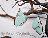 Luna Moth Wings Earrings - Carved Walnut Hardwood & Hand Painted - 14 Karat Gold Filled Findings