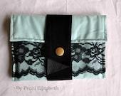 Traveller's Wallet - Soft Turquoise - Black Vintage Lace - Black Suede - OOAK