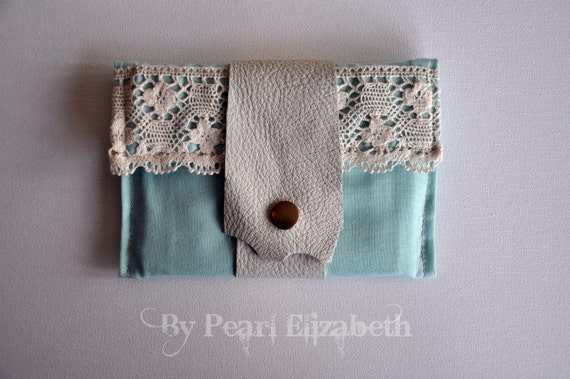 Traveller's Wallet - Soft Turquoise - Leather & Lace - OOAK