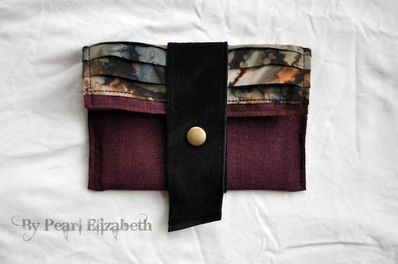 Traveller's Wallet - Wine Linen - Blue Grey Brown Washed Batik - Black Suede - OOAK
