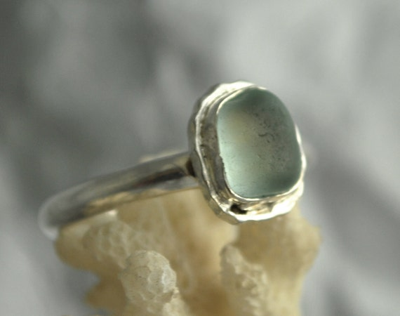 Soft Blue Baby - Soft Blue genuine sea glass ring