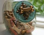 "Treat Jar ""Sweet William"" in Aqua Blue and Gold elegant countertop storage for pet lovers"