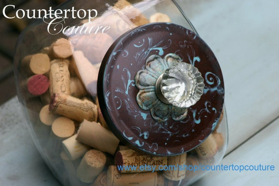Hand Painted Chocolate &  Aqua  Swirl  Cookie Jar by Countertop Couture