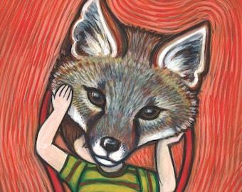 Fox Art Print - Fox Mask / Wolf Mask illustration - kids wall storybook art print