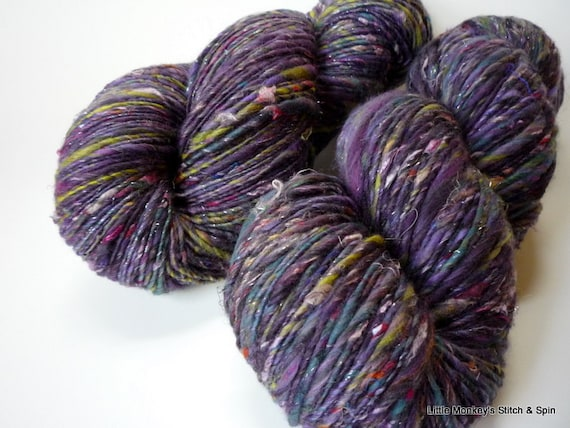 """Reserved for Tracy - Handspun Yarn, thick n thin worsted singles, """"Holograph"""", 4.4oz, 233 yds"""