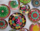 "Dozen Mandalas Glass Fridge Magnet Set (12) Twelve magnets mandalas in three sizes S(1/2 ""),M(1""),L(1.2"")"