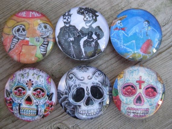 Glass Fridge Magnets skelettons and skulls (set of 6)