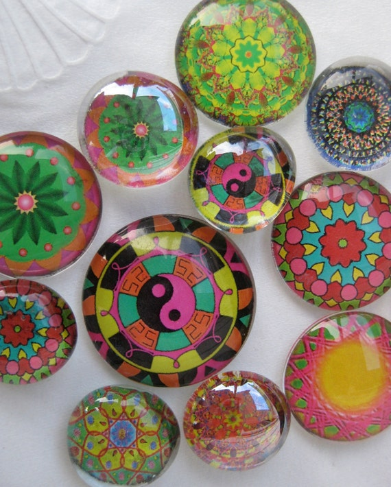 "Dozen Mandalas Glass Fridge Magnet Set (12) Twelve magnets mandalas in three sizes S(1/2 ""),M(1""),L(1.2"")"