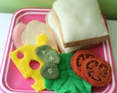 Felt  SANDWICH SET - Pretend Food Play Food - Bread Meat Cheese Tomatoes Lettuce Pickles