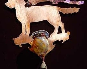Potion Bottle with Wind Chime - Copper Fairy Golden Retriever