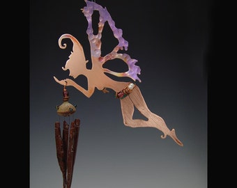 Wind Chime- Copper Manifestation Fairy with Obsidian