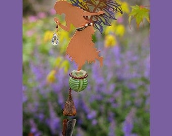 Wind Chime with Potion Bottle & Suncatcher - Valerian Fairy - Your choice of bottle color