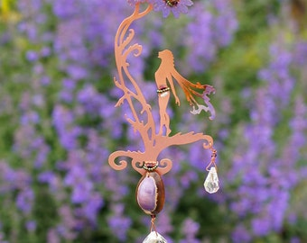Mother's Day -Sun Catcher with Cowrie Shell - Spring Wild Flower Fairy