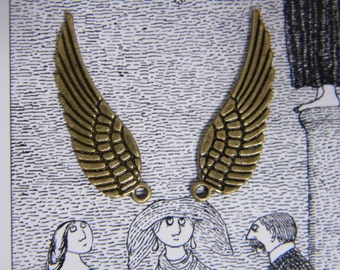 50 x Antique Brass/Bronze Wing Charms Bulk Bronze Vintage Angel Wing Pendants 30x9mm Bronze Wings Jewelry Making Charms