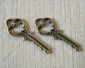 Eliot - Skeleton Keys - 6 x Antique Brass Bronze Fancy Vintage Skeleton Keys Key Set