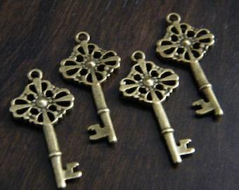 Bishop - 10 x Antique Brass Bronze Vintage Skeleton Cross Key Keys, Skeleton Keys For Weddings, Vintage keys