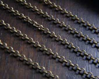 25ft Antique Brass Bronze Chain Round Cross Chain 2.5mm - B