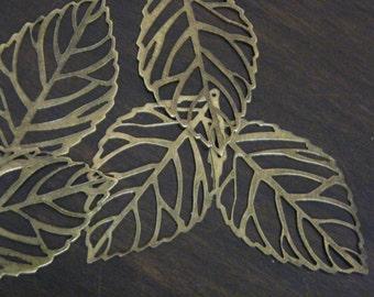 10 x Antiqued Bronze Thin Leaf Pendants 54x31mm