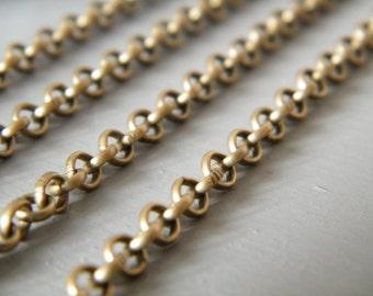 32ft Antique Brass Bronze Chain Round Cross Chain 4mm - B