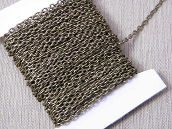 10ft Antiqued Bronze Textured Cable Chain 4x3mm Antiqued Brass Finished Iron Textured Chain Jewelry Making Chain