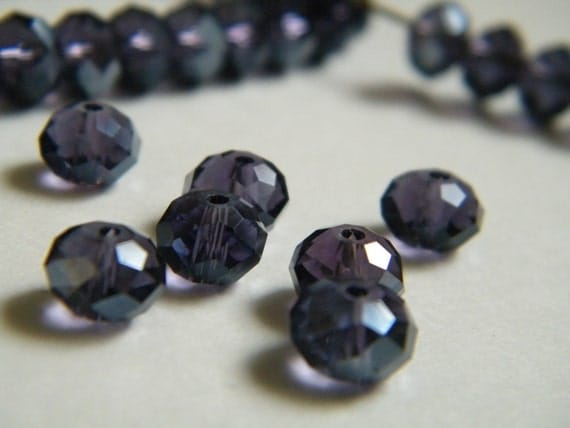 12 Czech Glass Beads Faceted Abacus Rondelle Bead Indigo 8x6mm