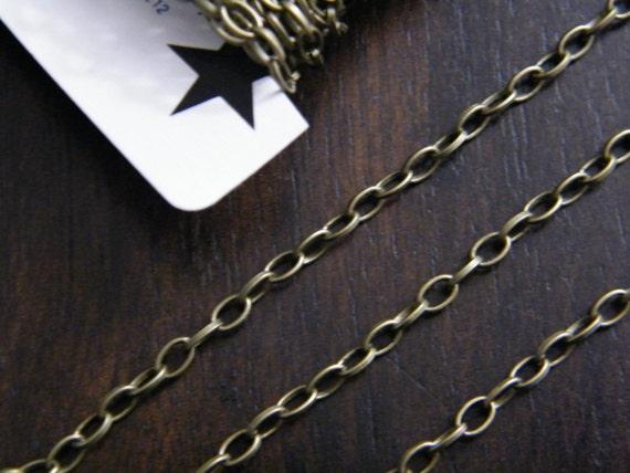 32ft Antique Brass Bronze Chain Oval Cross Chain 3x5mm - B