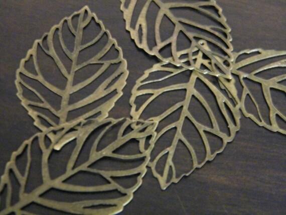 50 x Antiqued Bronze Filigree Leaves Thin Leaf Pendants 54x31mm