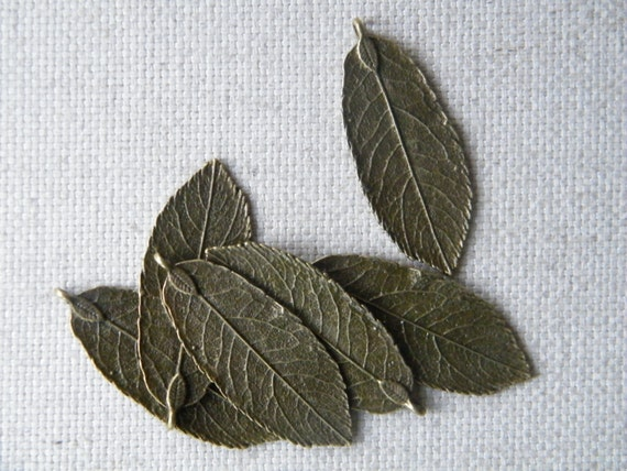 10 x Antique Bronze Brass Natural Leaf Pendants Rustic Jewelry Making Leaf Charm Bronze Leaves Necklace Leaf Charms