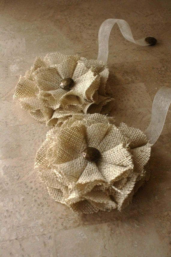 Burlap Magnetic Tie Backs Flowers by nikycoleshop on Etsy