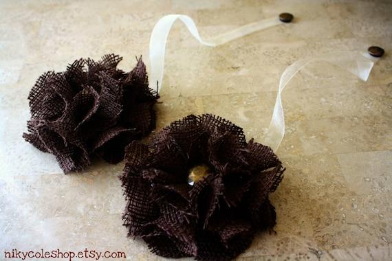 Chocolate Brown Color Burlap Magnetic Tie Backs Flowers