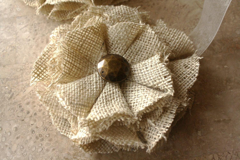 Burlap Magnetic Tie Backs Flowers