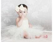 Victorian Ivory baptism/christening Crochet tutu Dress and headband Photo Prop Baby shower gift