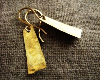 Petite small Trapezoid Trapezoid Earring (hand forged hammered and brushed brass) spring summer