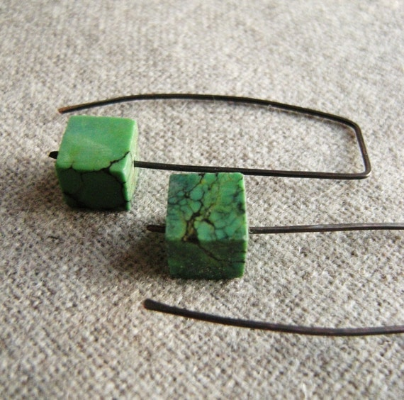 """turquoise earrings """"Cubic Turquoise""""  (Hand Forged,gunmetal Black Patina, Copper natural Turquoise cubes winter green mint)"""
