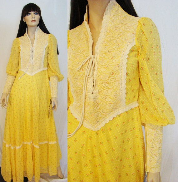 Princess Buttercup... 1969 Rare Black Label Dotted Swiss Yellow Gunne Sax Maxi Dress with Tag Deadstock