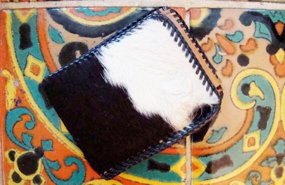 70s Cow Hide & Fur Billfold Wallet